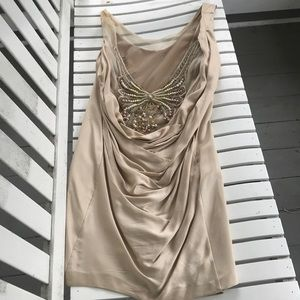 Foley and Corina drape back silk dress